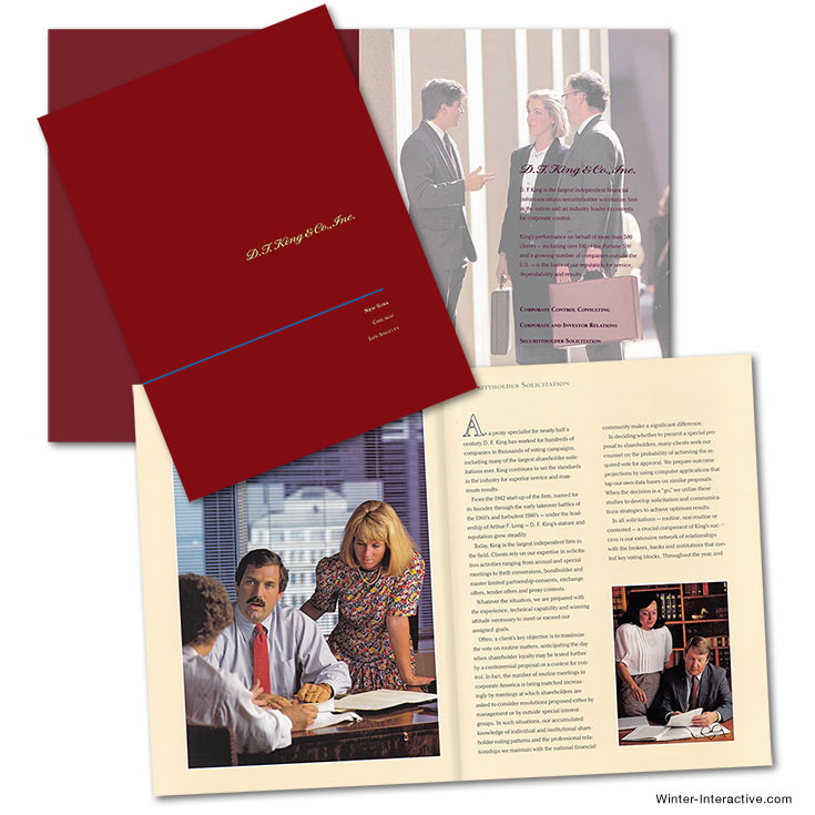 DF King, corporate capabilities brochure, print, design Winter Interactive Inc
