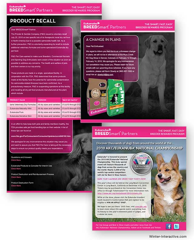 Iams HTML email ad blasts, design and development Winter Interactive Inc