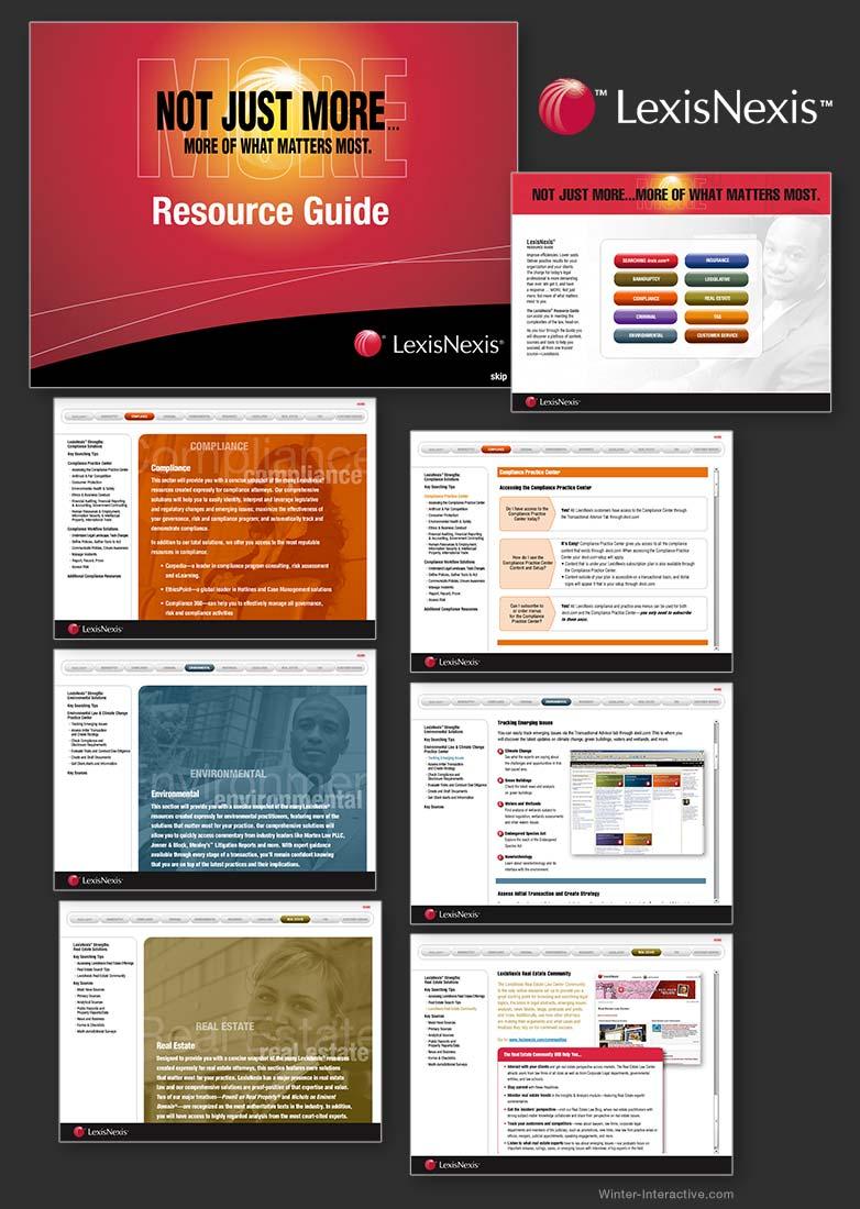 LexisNexis interactive products sales tool. UX, UI design and development Winter Interactive Inc
