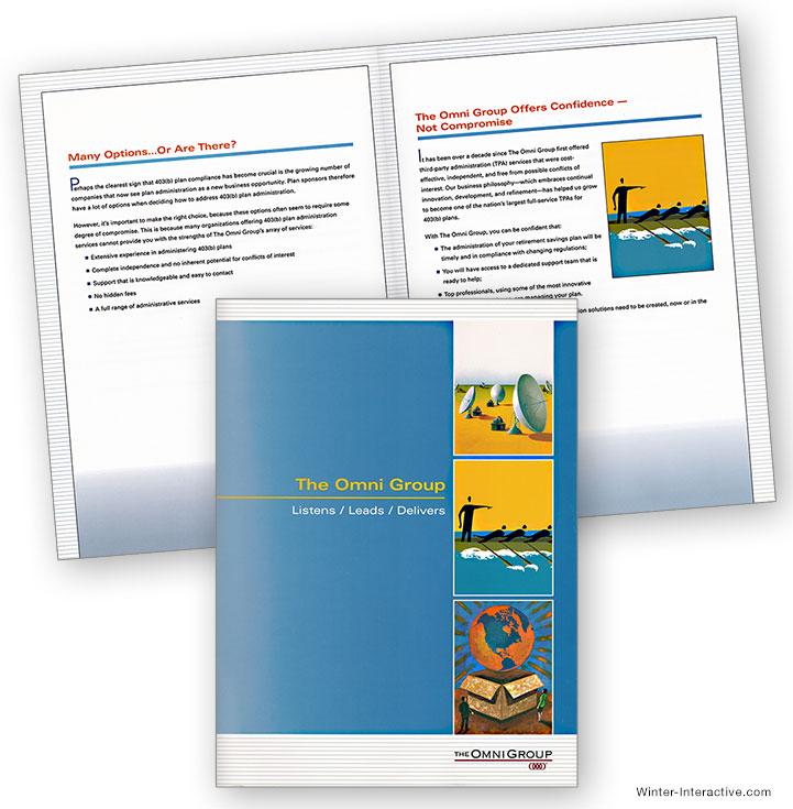 Omni Group benefits information kit, print, design Winter Interactive Inc