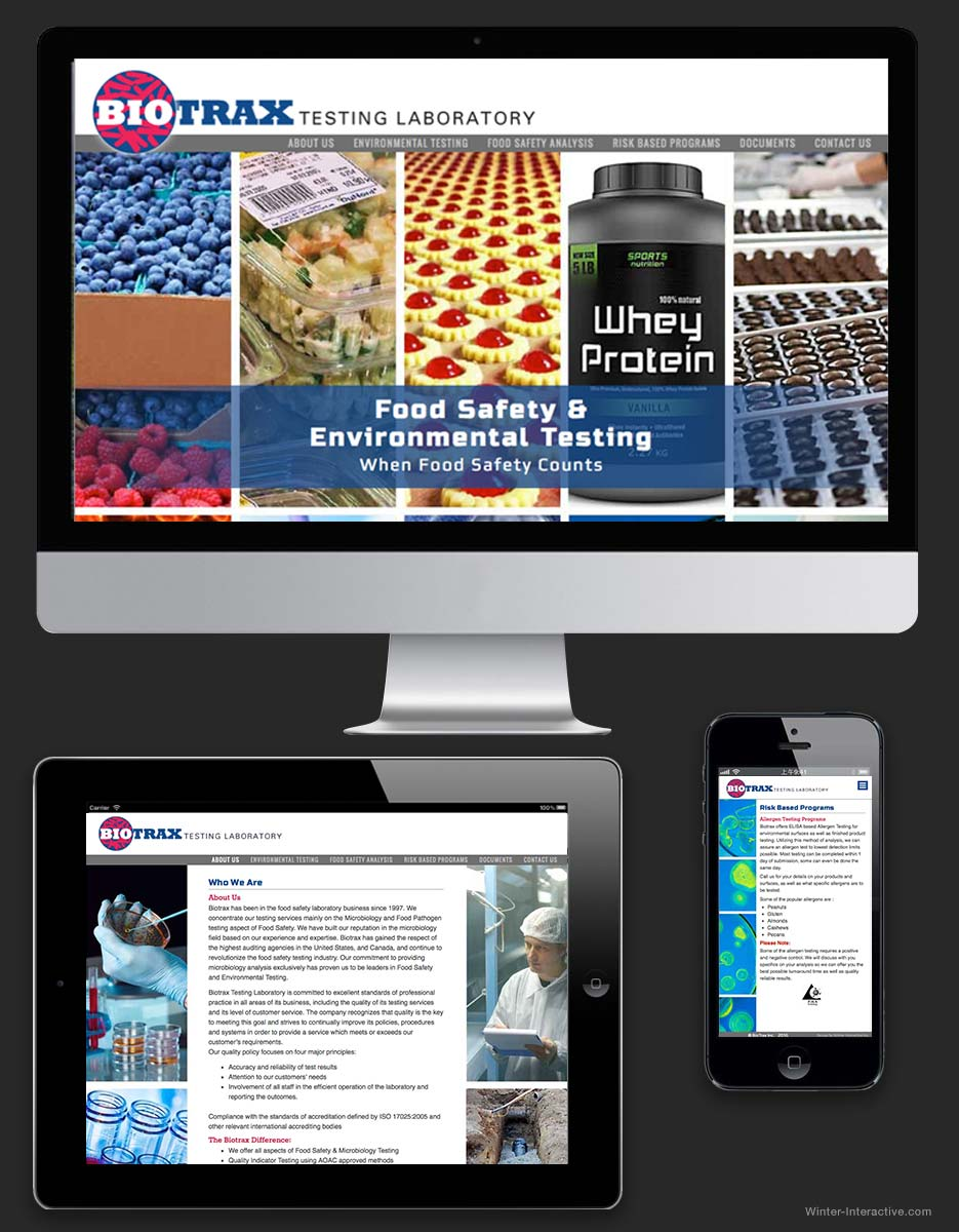 Biotrax Testing Laboratories, branding, website design and development Winter Interactive Inc