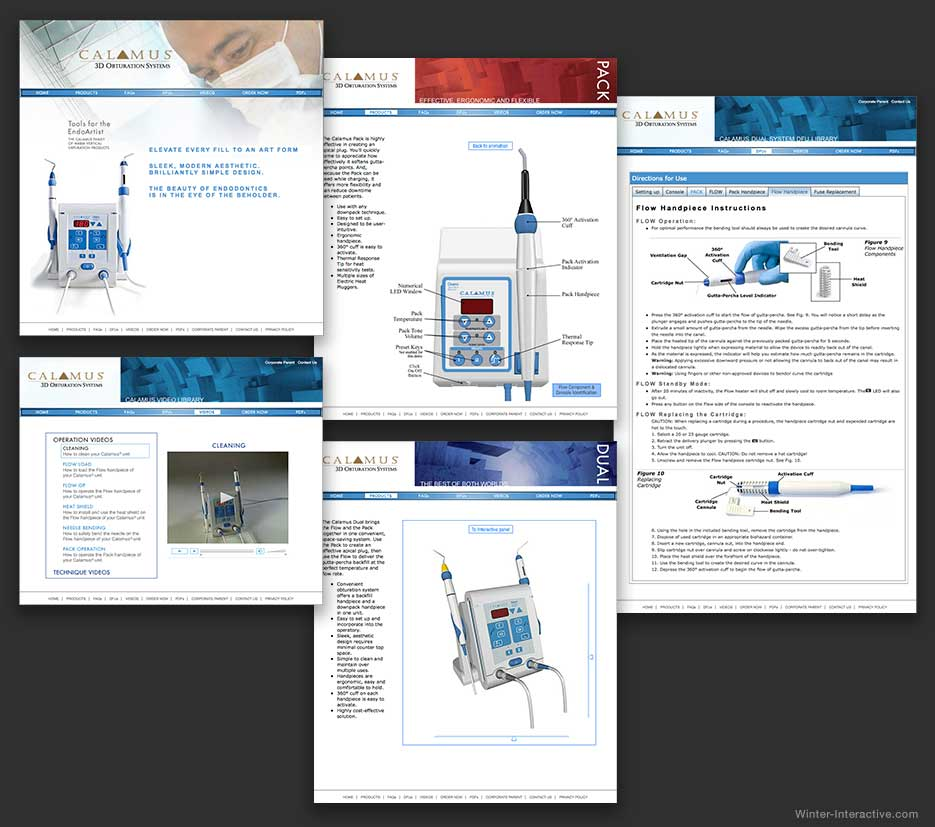 Calamus dental medical device website, UX, UI, design and development Winter Interactive Inc