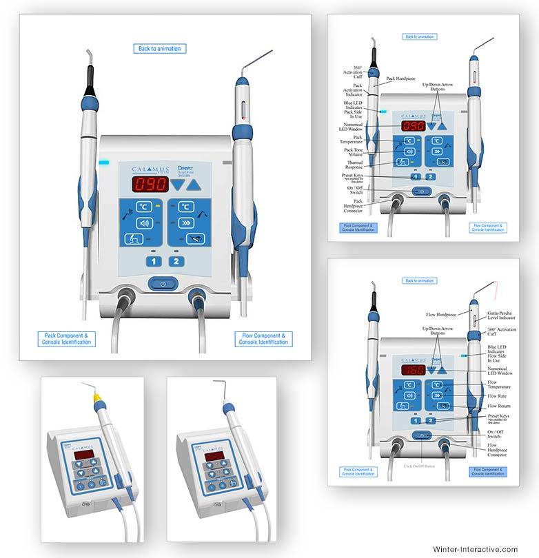 Calamus medical devices interactive simulation UX, UI design and development Winter Interactive Inc