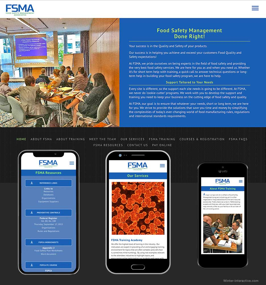 FSMA Website, Food Safety, design and development Winter Interactive Inc